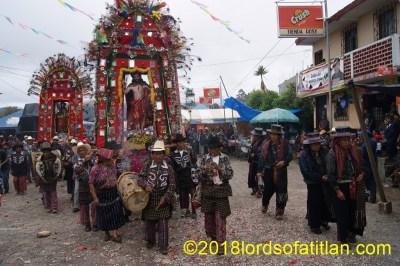 Guicho (chirimiya) and Catarino (tambor) lead the procession in the f air of San Bartolo, Aug. 24th, Barrio San Bartolo, Sololá.