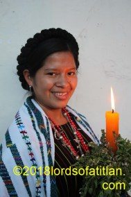 A former queen of Rabinal, Baja Verapaz, and therefore speaks achi. She also celebrates San Pablo, January 25.