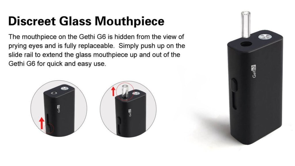 Airistech Gethi G6 dry herb vaporizer showing telescoping mouthpiece