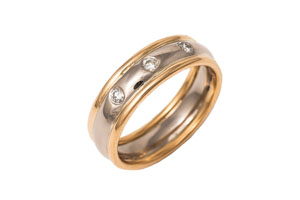 22ct Yellow and 18ct White Gold Wedding Ring with Diamonds