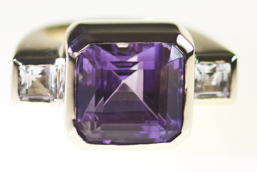 Amethyst Square Emerald Cut Dress Ring