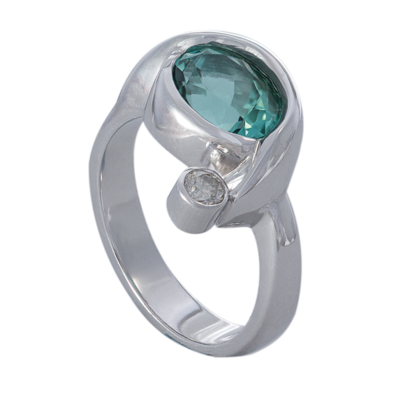 Sea Green Tourmaline Wave Ring