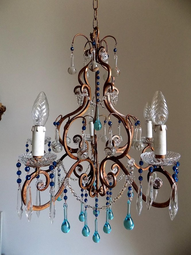 Florence Vintage Wrought Iron Birdcage Crystal Chandelier Murano Drops