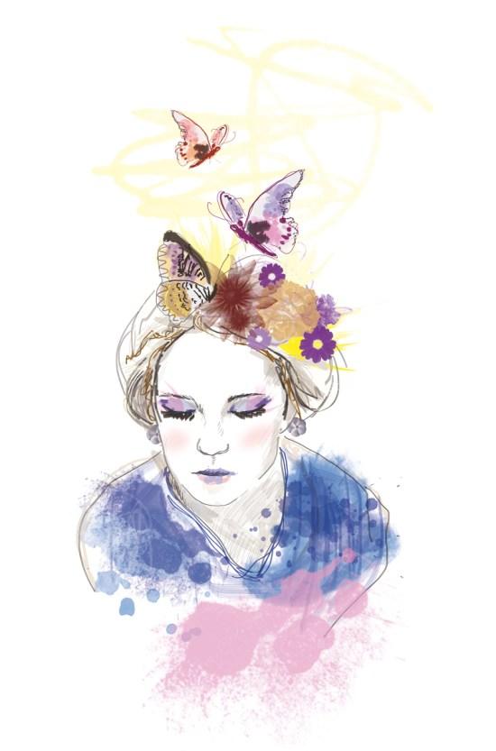 illustration digitale portrait femme papillons
