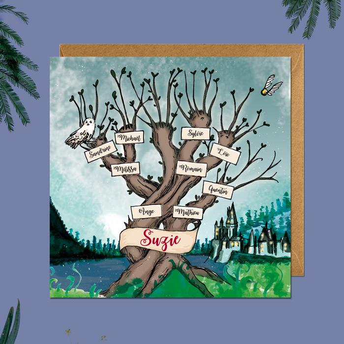creation faire part sur mesure theme harry potter - illustration arbre genealogique