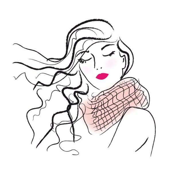 illustration cheveux longs au vent coiffure mode beauté