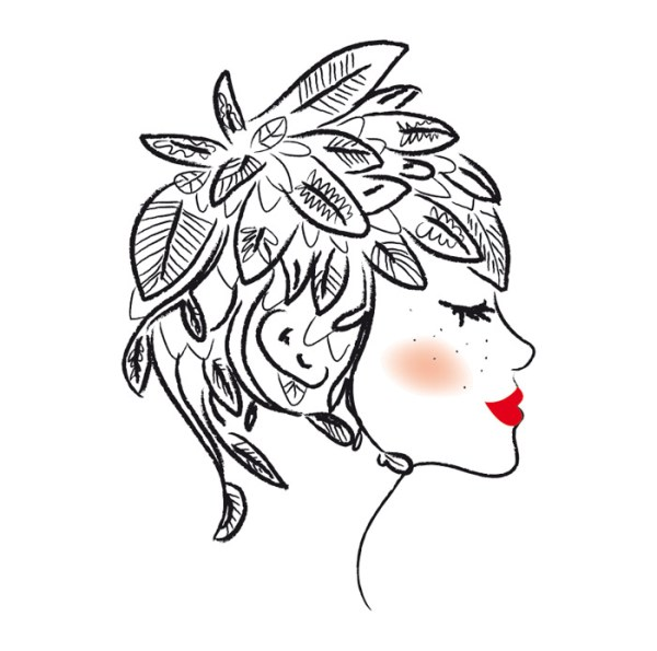 illustration femme vegetale de profil