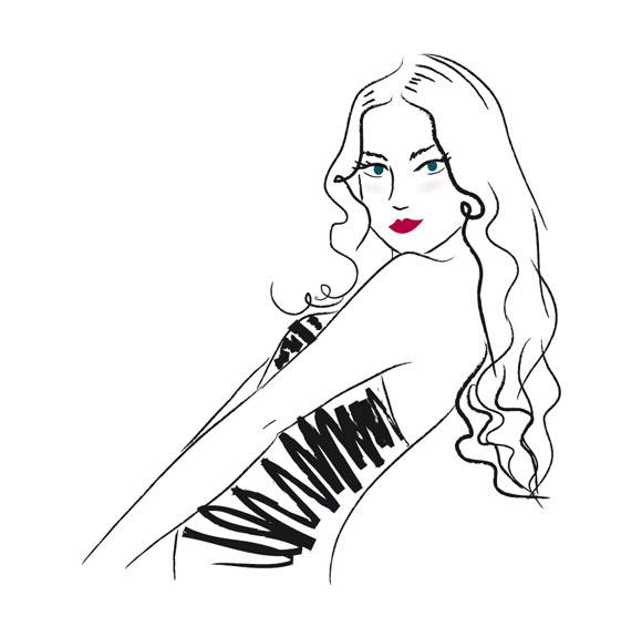 illustration fashion mode beauté jeune femme cheveux longs