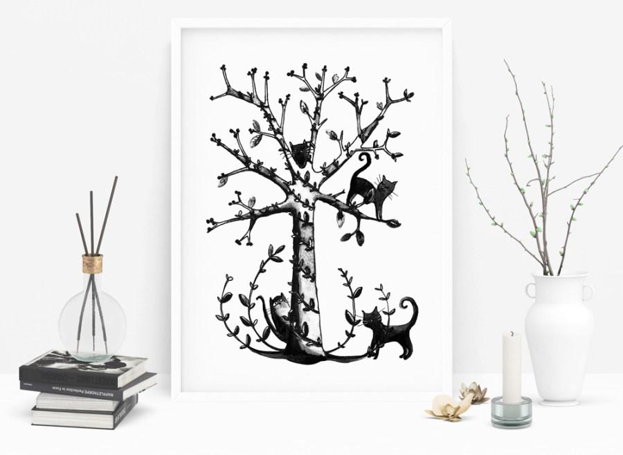 poster chats encre noire