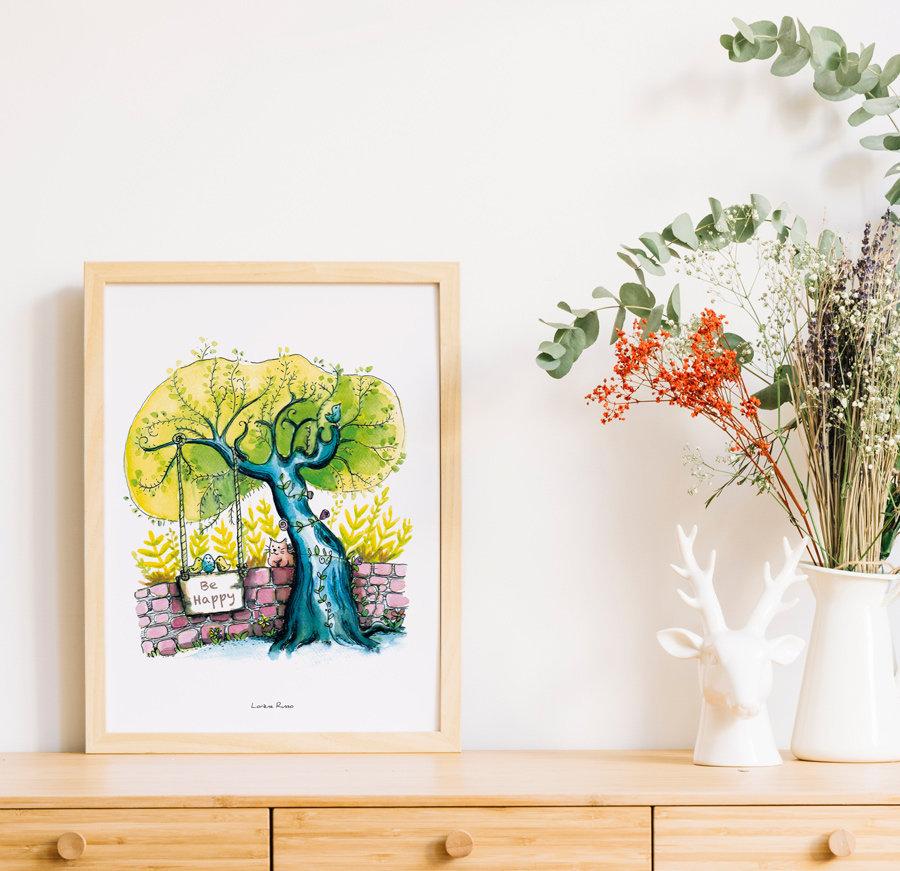 Affiche arbre be happy