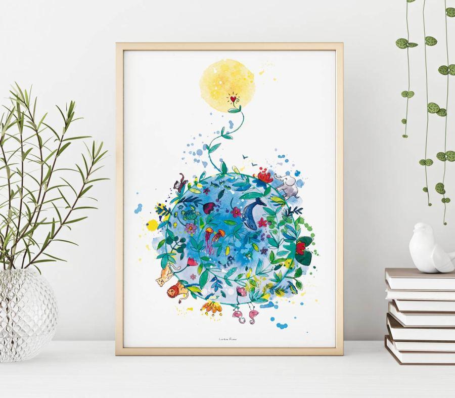 affiche illustrée planete, dessin ecologique