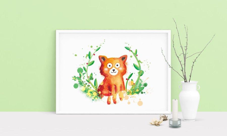 affiche illustrée panda roux