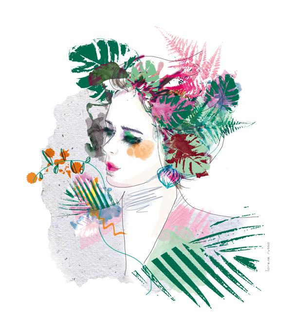 illustration buste de femme coiffure végétale et florale