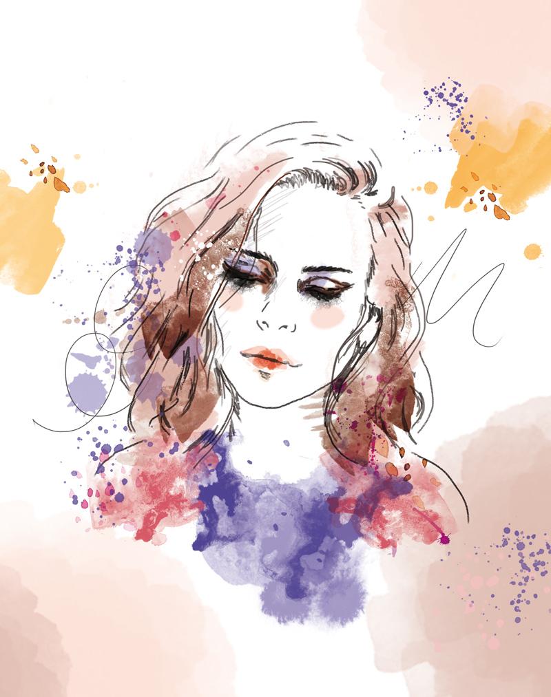 illustration portrait de femme taches aquarelle
