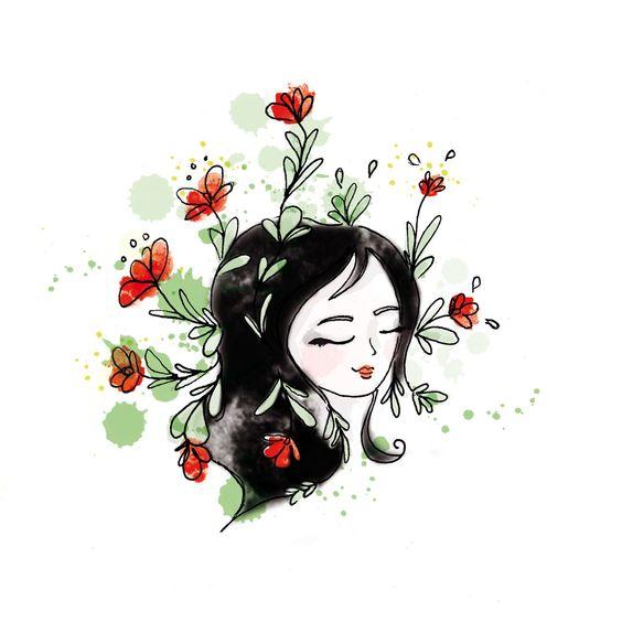 illustration personnage portrait stylisé végétal