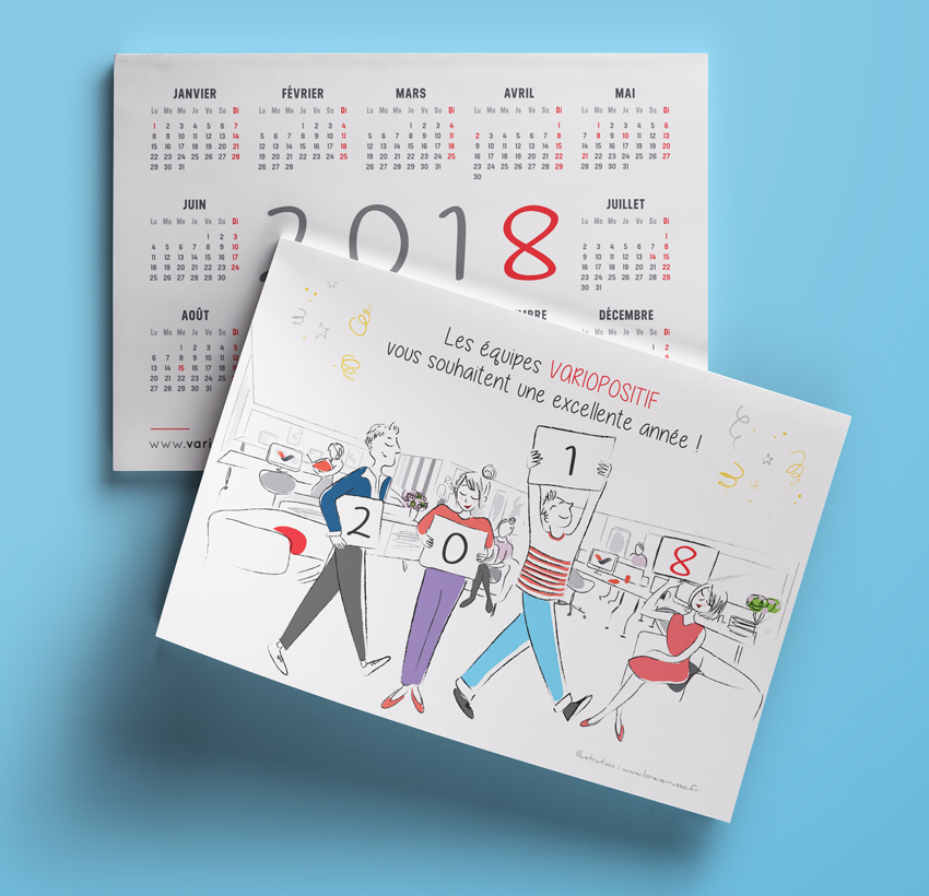 illustration carte de voeux calendrier corporate