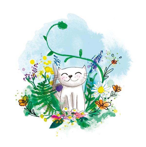 illustration jeunesse chat blanc dans son jardin
