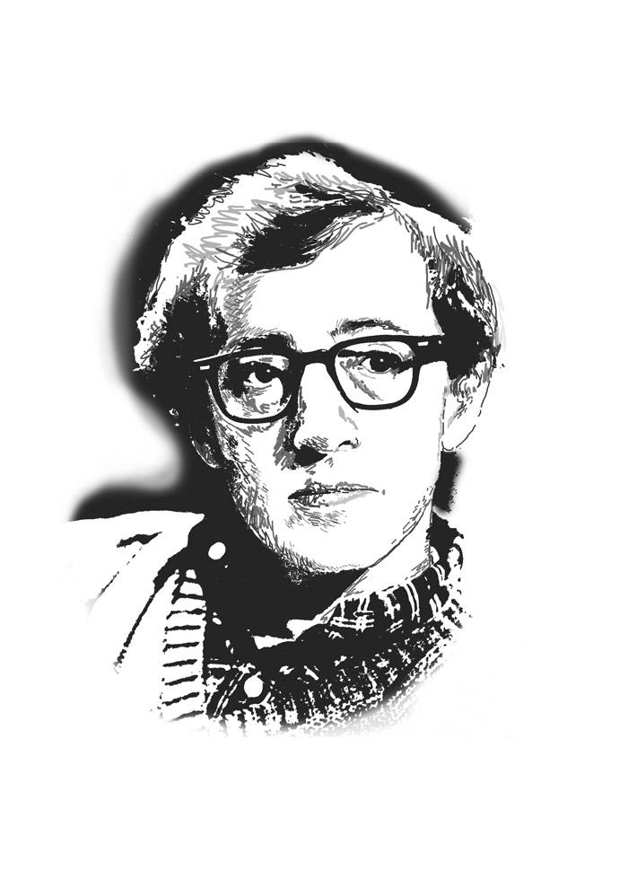 portrait dessiné style crayonné de woody allen
