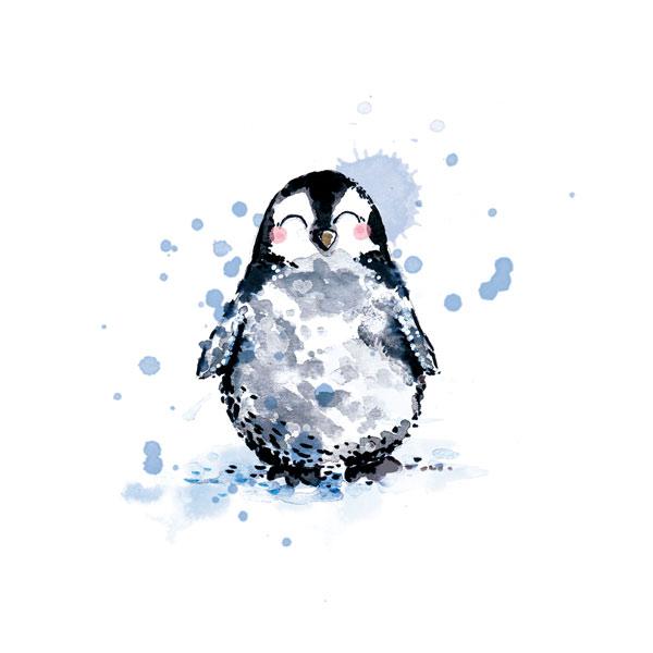 illustration aquarelle pingouin mignon
