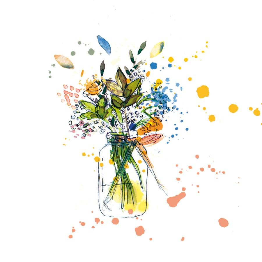 illustration bouquet de fleurs printanier