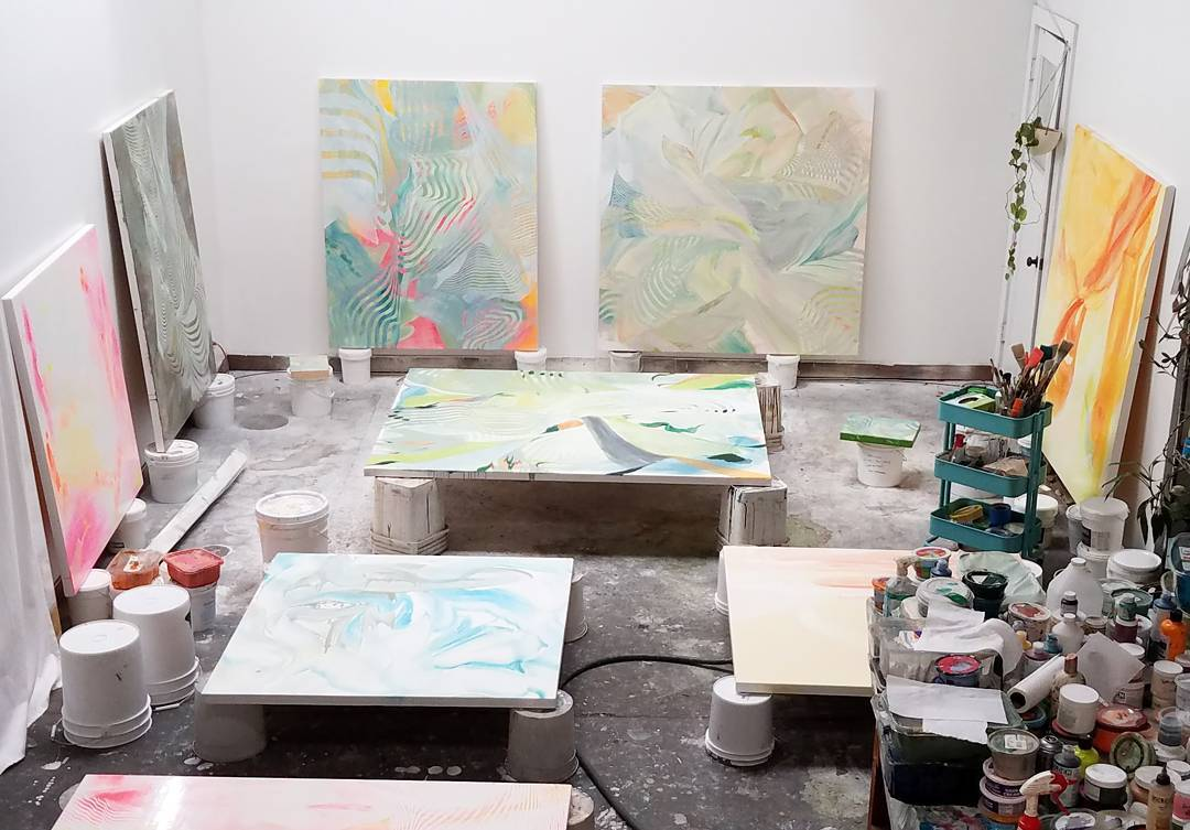 Paintings in various stages of completion gettingthere! painting workinprogress almostdonehellip