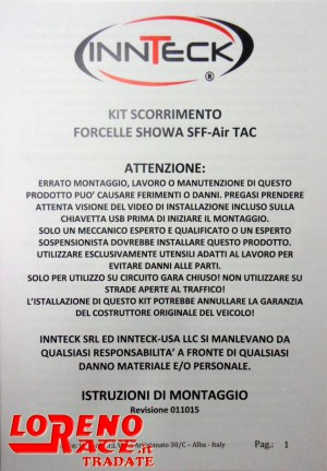 Kit SKF Alto scorrimento Showa SFF Air introduction