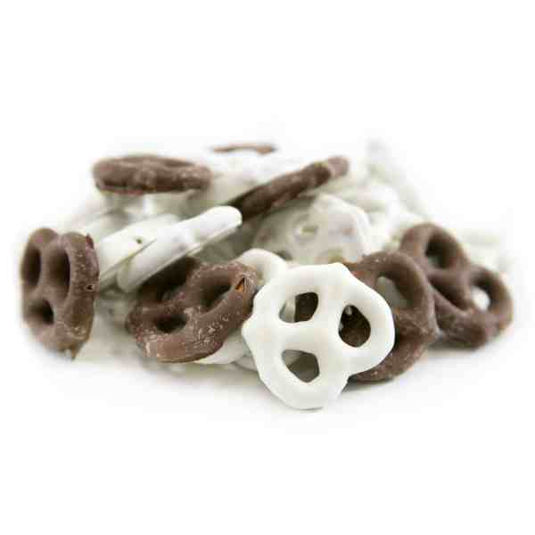 Yogurt and milk chocolate pretzels