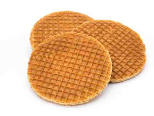 Our Stroopwafels nestle a delicious syrupy caramel filling between two light, crispy waffle cookies