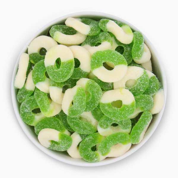 Apple-gummy-rings-top-bowl-www Lorentanuts Com Jelly Belly Italian Biscotti