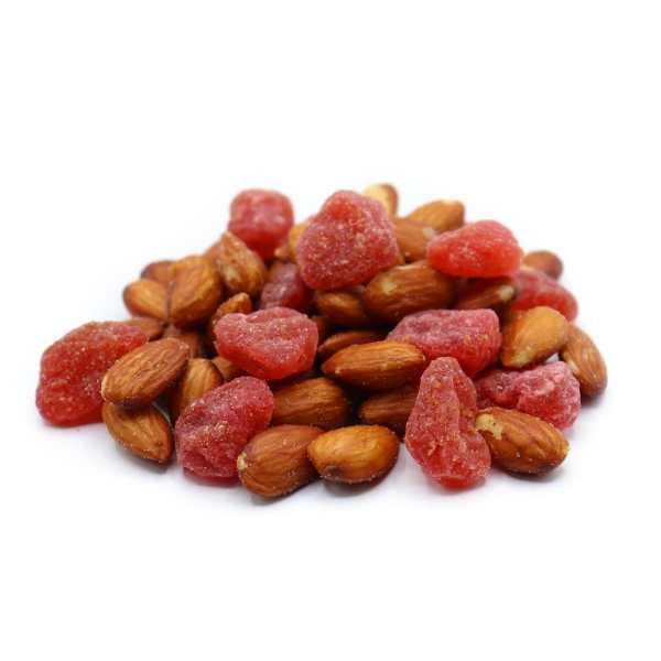 Almond-strawberry-mix-perspective-www Lorentanuts Com Chocolate Trailmix