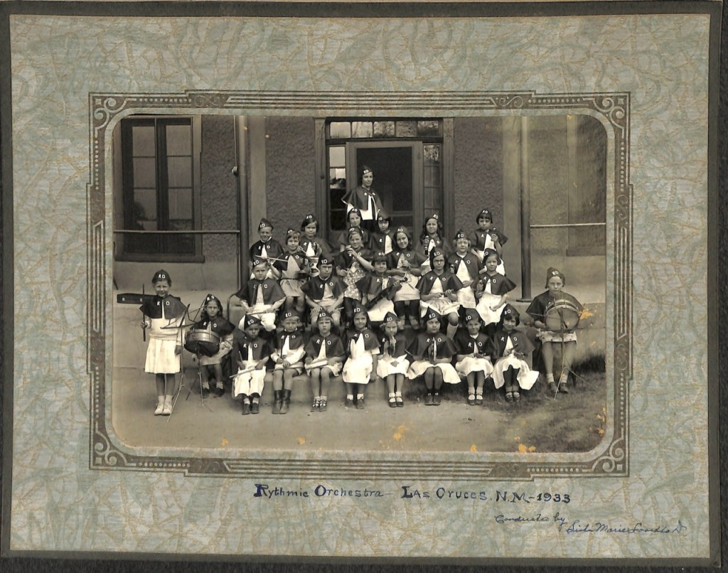 Historic photo of students in the Holy Cross Rhythmic Orchestra in Las Cruces, NM in 1933