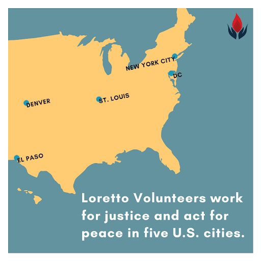Map showing locations of Loretto Volunteers in US