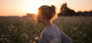 Young woman walking at sunrise enjoying herself after her depression was lifted by ketamine off-label.