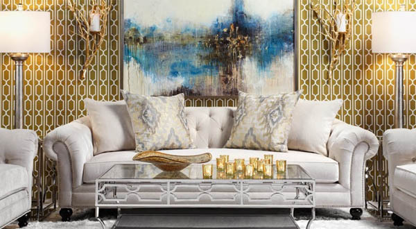 On trend for 2015 for Metallic living room ideas