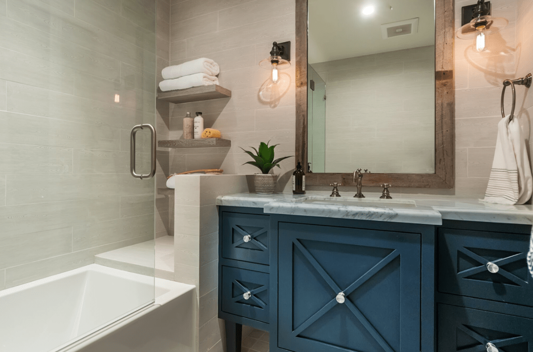 Farmhouse Vanity Your vanity may take up the most square footage in your coastal farmhouse bathroom and serve as the primary focal point, so choosing the right one is so important both for functionality and for defining the right style!