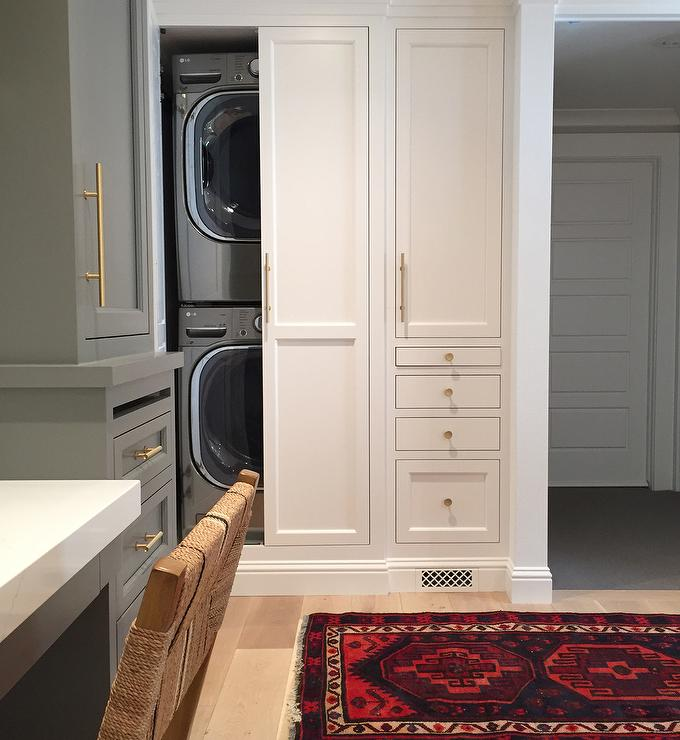 Hidden Stacked Washer Dryer in Closet