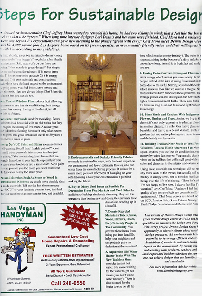 Celebrity Los Angeles Interior Designer Lori Dennis Home & Hearth Magazine