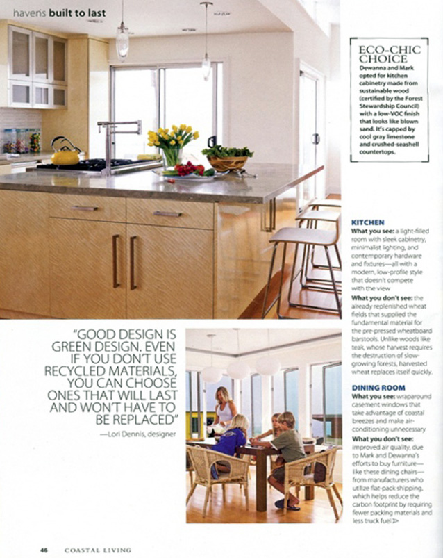 Celebrity Los Angeles Interior Designer Lori Dennis Coastal Living Magazine May 2009