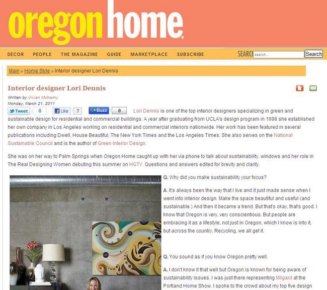 Celebrity Los Angeles Interior Designer Lori Dennis Oregon Home March, 2011