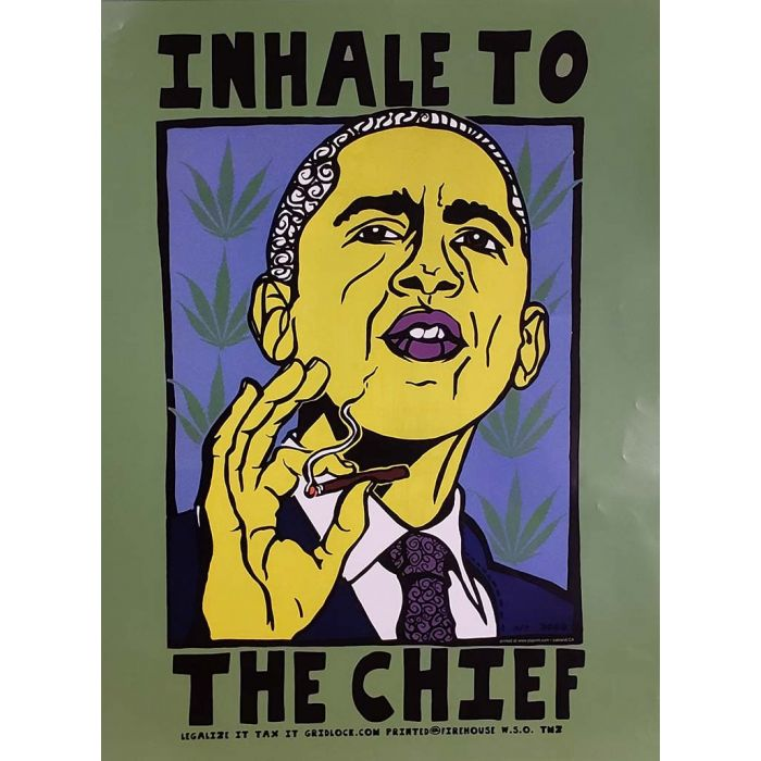 2008 barack obama inhale to the chief political satire poster