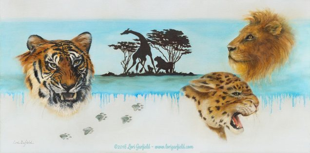"Paintings by Lori Garfield : Endangered, 30"" x 15"" Original Oil Painting composed of a montage of big cats - head studies of a tiger, cheetah and lion, with paw prints and background of an African scene in silhouette, by artist Lori Garfield, Medford Oregon"