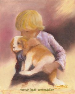"""Paintings by Lori Garfield : Puppy Love...A Study, 8"""" x 10"""" Original Oil Painting of a boy and his puppy by artist Lori Garfield, Medford Oregon"""
