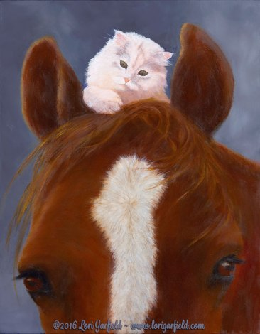 "Paintings by Lori Garfield : Ridin' High, 11"" x 14"" Original Oil Painting of a tiny white Persian kitten resting on top of a horse's head by artist Lori Garfield, Medford Oregon"
