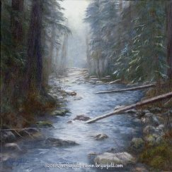 """Paintings by Lori Garfield : South Fork Rogue River, 14"""" x 14"""" Original Oil Painting of the South Fork of the Rogue River in Oregon, viewed looking upstream, by artist Lori Garfield, Medford Oregon"""