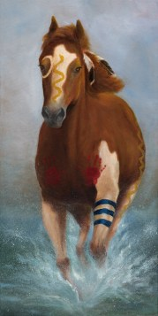 Paintings by Lori Garfield : American Indian War Pony, Original Oil Painting by artist Lori Garfield, Medford Oregon