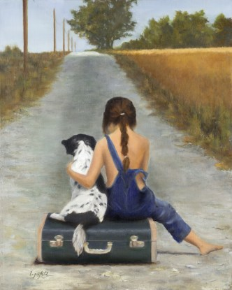Paintings by Lori Garfield : The Green Suitcase, Original Oil Painting by artist Lori Garfield, Medford Oregon