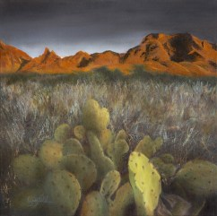 Paintings by Lori Garfield : Red Mountains, desert landscape with cactus in foreground and red mountains in background. Original Oil Painting by artist Lori Garfield, Medford Oregon