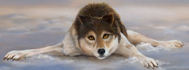Paintings by Lori Garfield : Ice Folly, portrait of a wolf lying on and ice pond. Original oil painting by Lori Garfield, Medford, Oregon