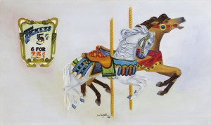 Paintings by Lori Garfield : Carousel Horses, Original Oil Painting by artist Lori Garfield, Medford Oregon