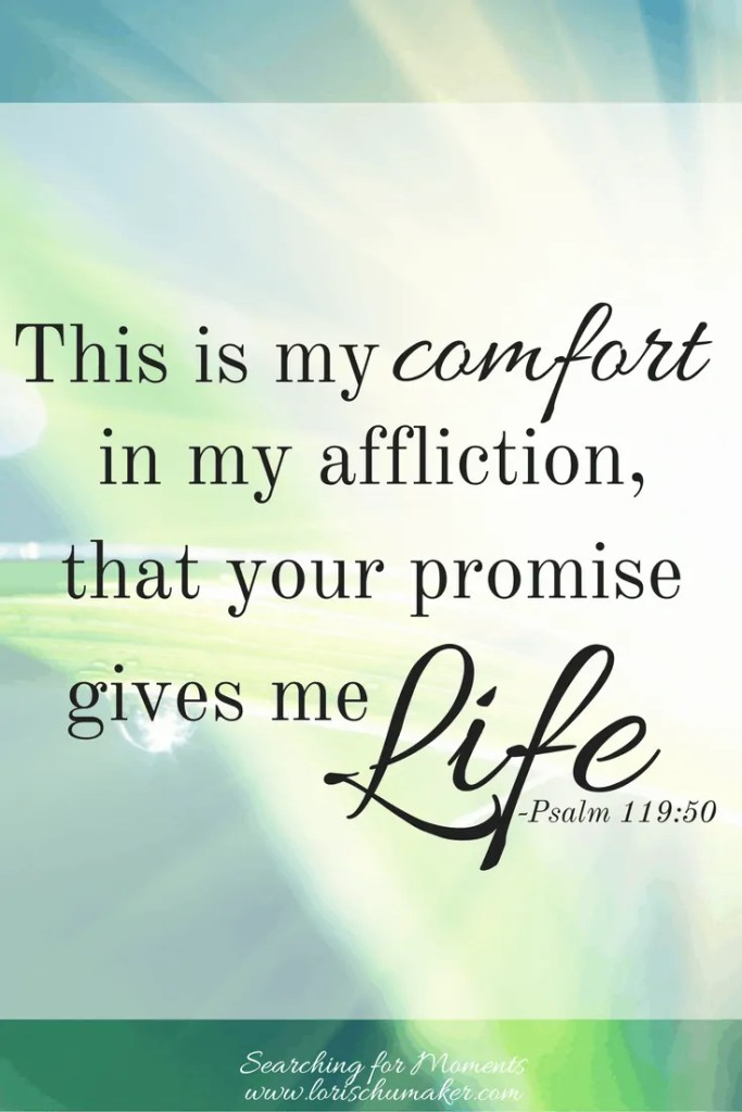 This is my comfort in my affliction, that your promise gives me life. Psalm 119:50 - #MomentsofHope - unshakable faith -Lori Schumaker